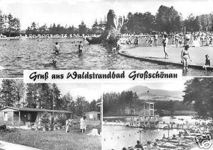 Ansichtskarte, Großschönau, drei  Abb., Waldstrandbad, 1982