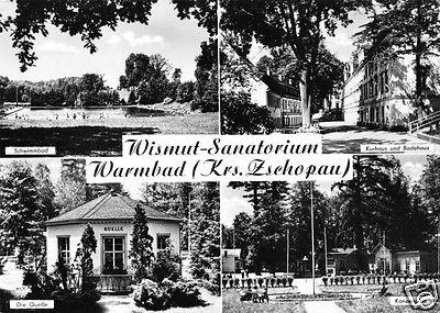 Ansichtskarte, Warmbad Kr. Zschopau, Wismut - Sanatorium, vier Abb., 1967