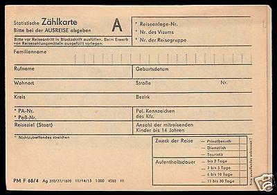 DDR-Grenzpassage, Zählkarte für die Ausreise, relativ frühe Variante aus 1977
