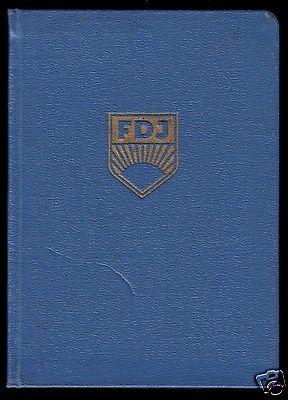 FDJ-Ausweis mit diversen Beitragsmarken, 1953-1955, Kreis Rudolstadt