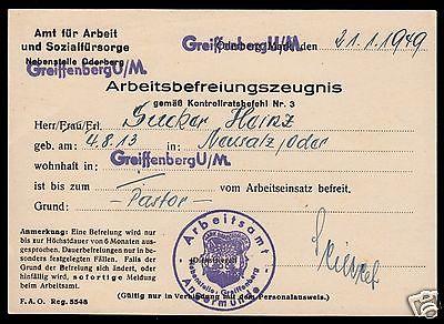 Arbeitsbefreiungszeugnis für Pastor, Arbeitsamt Angermünde, 1949, gesiegelt