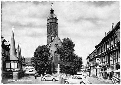Ansichtskarte, Einbeck, Marktplatz mit Kirche, zeitgen. PKW, um 1960