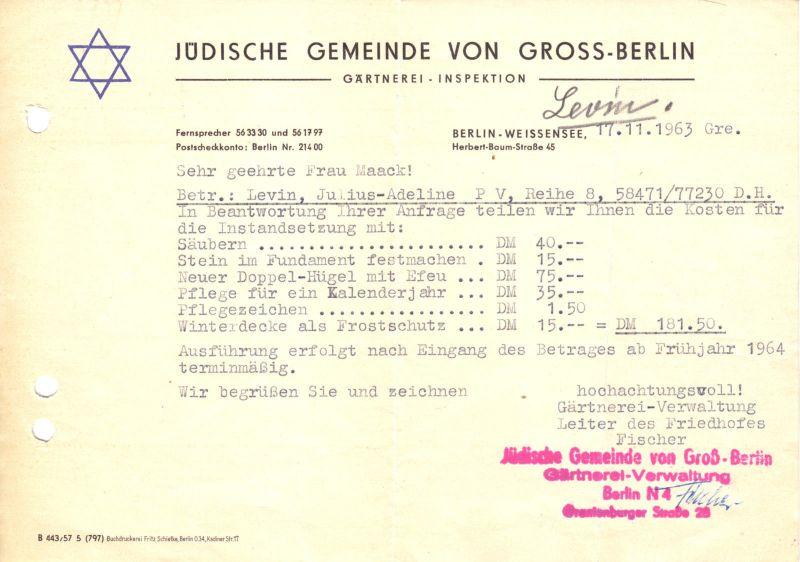 Zwei Dokumente, Jüdische Gemeinde von Gross - Berlin, Friedhof Weissensee, 1963