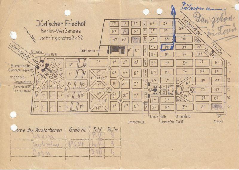 Zwei Dokumente, Jüdische Gemeinde von Gross - Berlin, Friedhof Weissensee, 1963 1