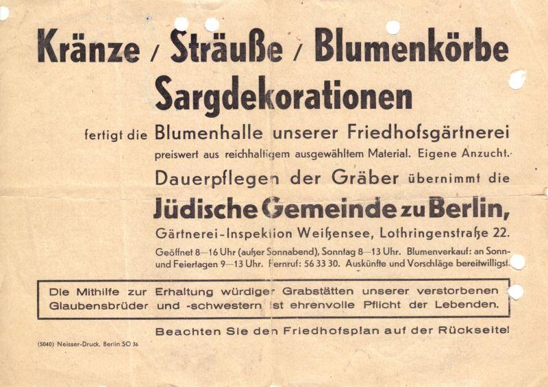Zwei Dokumente, Jüdische Gemeinde von Gross - Berlin, Friedhof Weissensee, 1963 2