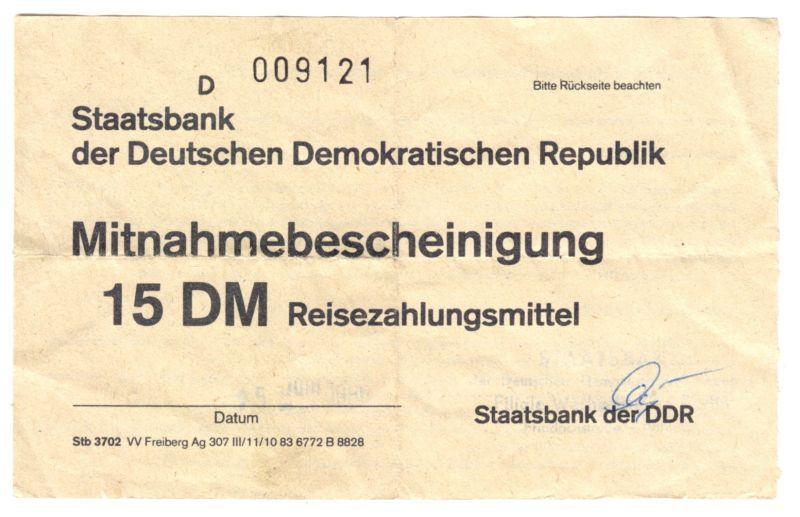 Mitnahmebescheinigung für 15 DM Reisezahlungsmittel, Staatsbank der DDR, 1986