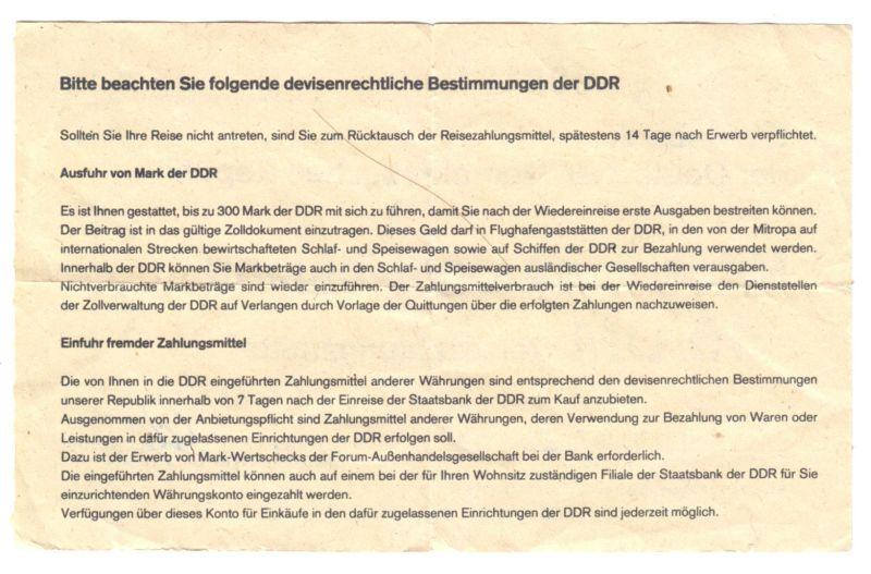 Mitnahmebescheinigung für 15 DM Reisezahlungsmittel, Staatsbank der DDR, 1986 1