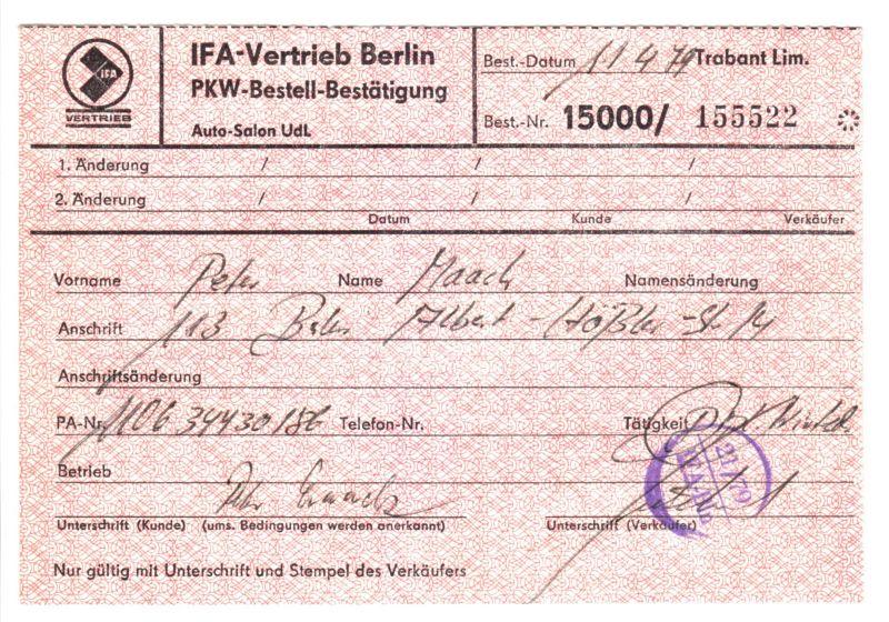IFA-Vertrieb Berlin, PKW-Bestell-Bestätigung, Trabant Limosine, 11.4.79