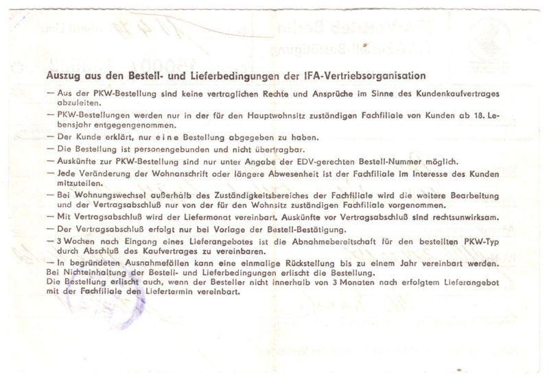 IFA-Vertrieb Berlin, PKW-Bestell-Bestätigung, Trabant Limosine, 11.4.79 1