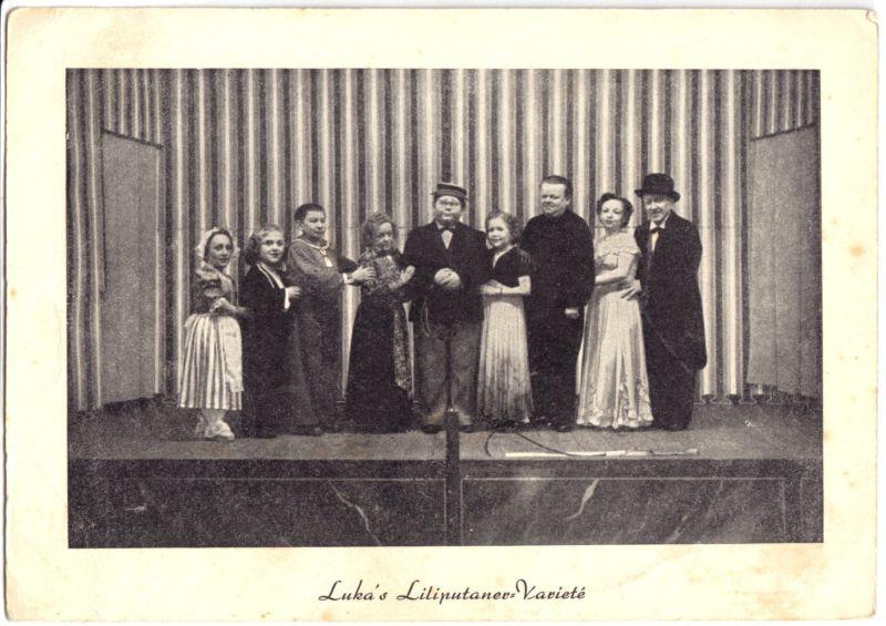 Ansichtskarte, Luka's Liliputaner-Varieté, 1954