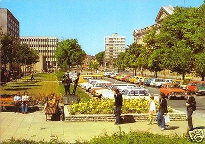 Ansichtskarte, Potsdam, Heinrich-Rau-Allee, belebt, zeitgen. Pkw, 1982