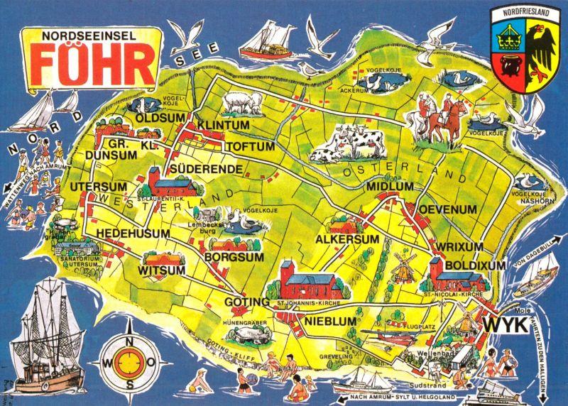 Ansichtskarte, Insel Föhr, Landkarte der Insel, Version 2, 1980