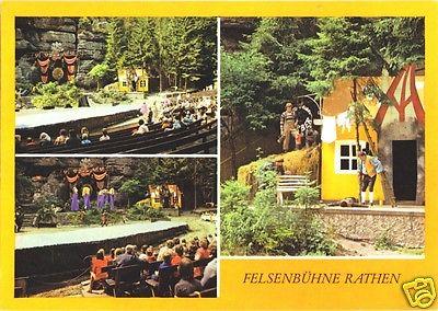 Ansichtskarte, Kurort Rathen Sächs. Schweiz, Felsenbühne Rathen, belebt, drei Abb., 1987