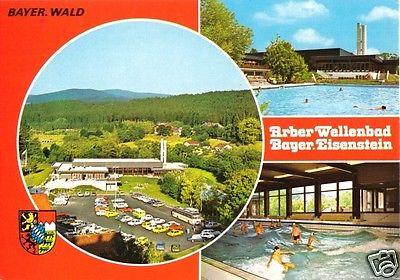 Ansichtskarte, Bayer. Eisenstein, Arber-Wellenbad, drei Abb., um 1980