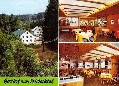 Ansichtskarte, Grafenhaig im Frankenwald, Gasthof zum Rehbachthal, drei Abb., um 1970