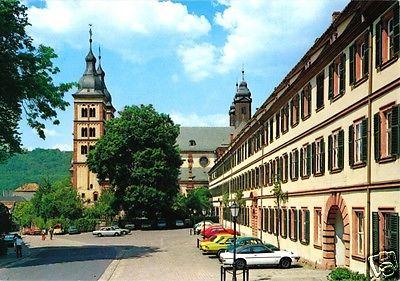 Ansichtskarte, Amorbach, Straßenpartie und Kirche, 1992
