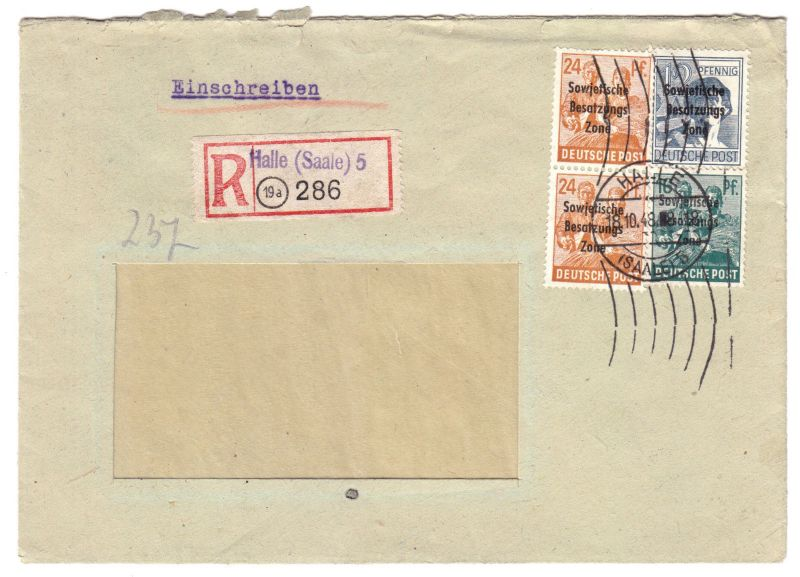 Orts - R - Bf., Mi.-Nr. SBZ  188 Mif 186, 190 (2), o Halle (Saale) 5, 18.10.48