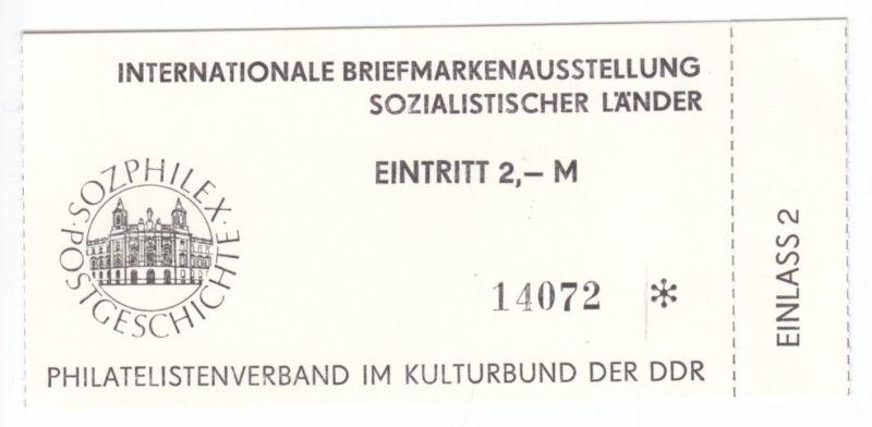 Eintrittskarte, Sozphilex, Briefmarkenausstellung Soz. Länder, Berlin 1985 0