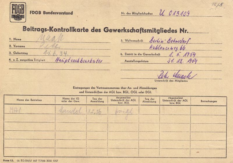 Sechs Kontrollkarten für die Zahlung von Beiträgen im FDGB mit Marken, 1958-90 0
