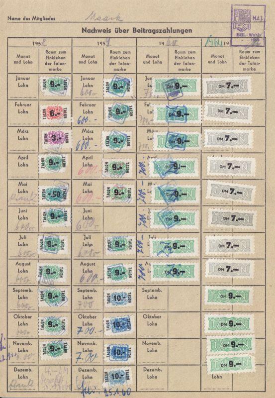 Sechs Kontrollkarten für die Zahlung von Beiträgen im FDGB mit Marken, 1958-90 1