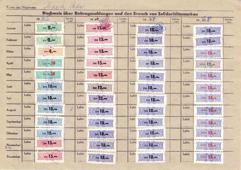 Sechs Kontrollkarten für die Zahlung von Beiträgen im FDGB mit Marken, 1958-90 2