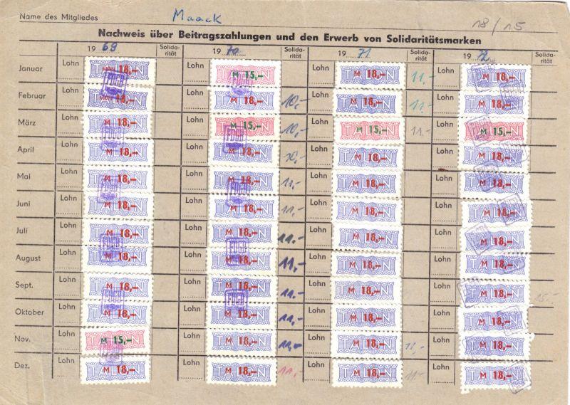 Sechs Kontrollkarten für die Zahlung von Beiträgen im FDGB mit Marken, 1958-90 3