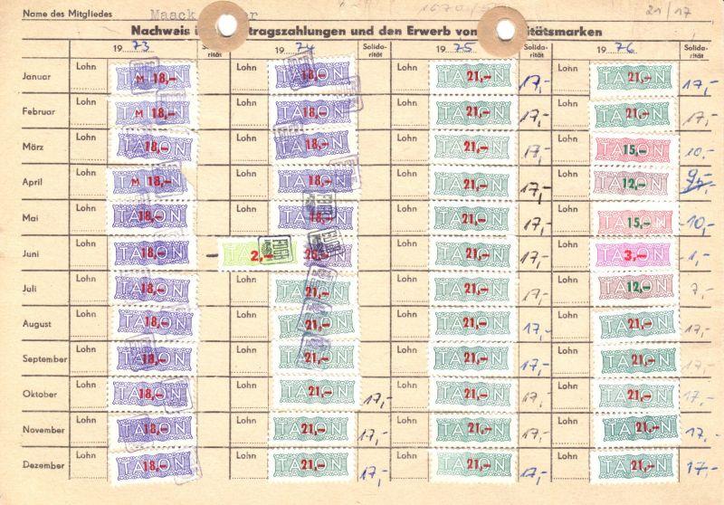 Sechs Kontrollkarten für die Zahlung von Beiträgen im FDGB mit Marken, 1958-90 4