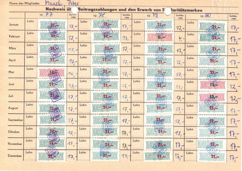 Sechs Kontrollkarten für die Zahlung von Beiträgen im FDGB mit Marken, 1958-90 5