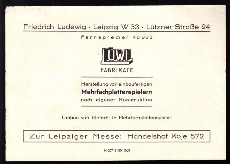 Werbeblatt der Fa. Friedrich Ludewig, Leipzig für Mehrfachplattenspieler, 1950
