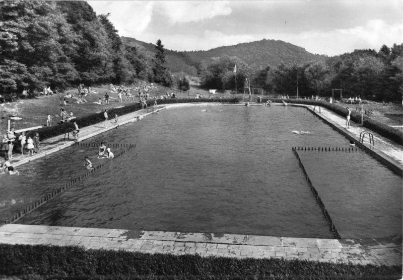 Ansichtskarte, Neustadt Südharz, Waldbad belebt, 1966