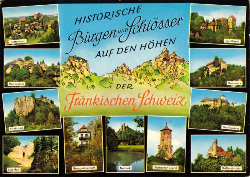 Ansichtskarte, Historische Burgen und Schlösser in der Fränkischen Schweiz, elf Abb., 1980