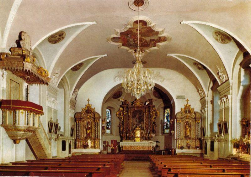 Ansichtskarte, Fichtelberg, Kath. Pfarrkirche, Innenansicht, um 1980