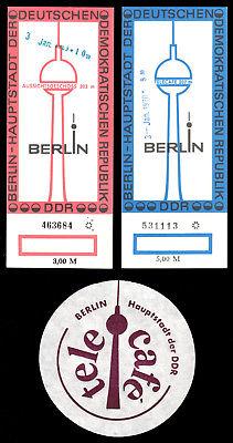 Zwei Eintrittskarten, Berlin, Fernsehturm, 1969 bzw. 1970 und Tropfdeckchen 0