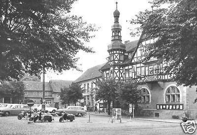 Ansichtskarte, Harzgerode Harz, Marktplatz mit Rathaus, Pkw, 1970