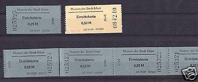 Sieben Eintrittskarten, Museen der Stadt Erfurt, 1987 bzw. 1984