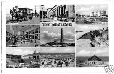 Ansichtskarte, Nordseeheilbad Norderney, neun Abb., 1959