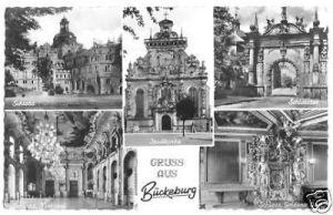 Ansichtskarte, Bückeburg, fünf Abb., Stadtkirche und Schloß, 1956
