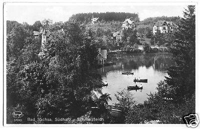 Ansichtskarte, Bad Sachsa Südharz, Schmelzteich mit Villen, 1932