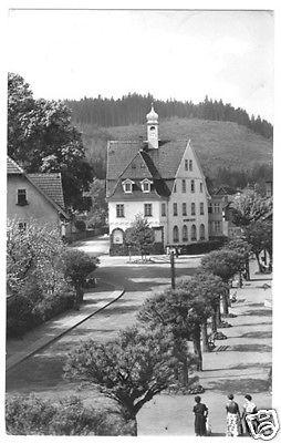 Ansichtskarte, Georgenthal Thür., Straßenpartie m. FDGB-Heim, 1957