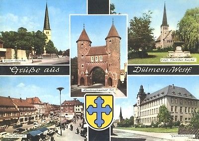 Ansichtskarte, Dülmen Westf., 5 Abb., u.a Gymnasium, ca. 1964