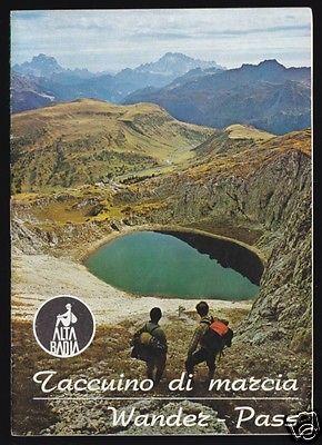 Wanderpass durch das Gebiet von Alta Badia, gebraucht, zahlreiche Stempel, 1975