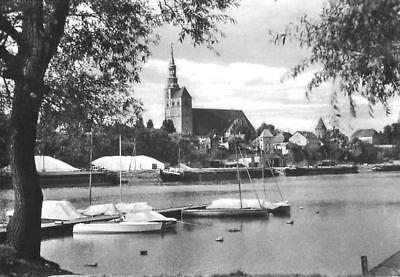 Ansichtskarte, Tangermünde Elbe, Am Hafen, mit Booten,1962