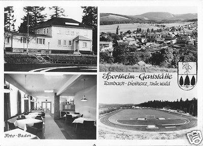 Ansichtskarte, Tambach-Dietharz Thür., Fußballplatz, Sportheim-Gaststätte, vier Abb., 1977