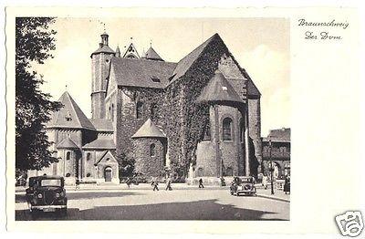 Ansichtskarte, Braunschweig, Blick zum Dom, Pkw, 1936