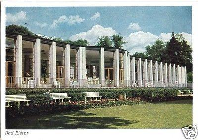 Ansichtskarte, Bad Elster, Wandelhalle, frühe DDR-Farbdruckkarte, 1955