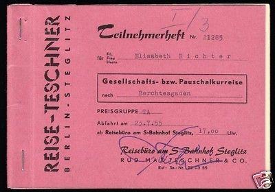 Teilnehmerheft für eine Reise nach Berchtesgaden, 1955