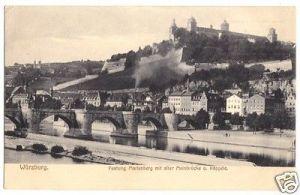 Ansichtskarte, Würzburg, Festung Marienberg, alte Mainbrücke, 1914