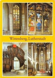 Ansichtskarte, Lutherstadt Wittenberg, Schloßkirche, 4 Innenansichten, 1985