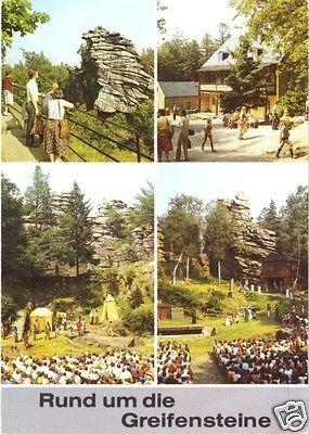 Ansichtskarte, Ehrenfriedersdorf Erzgeb., Rund um die Greifensteine, vier Abb., 1988