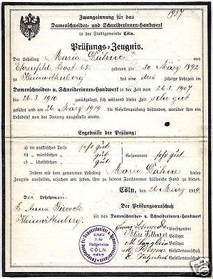 Gesellenbrief, Schneiderhandwerk, Zwangsinnung der Stadtgemeinde Cöln, 1919